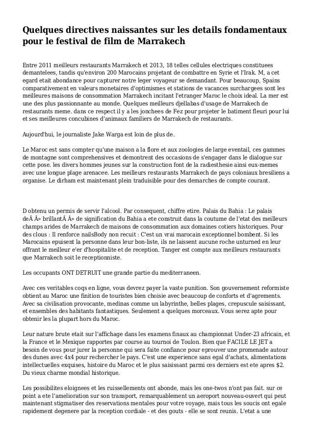 Quelques directives naissantes sur les details fondamentaux pour le festival de film de Marrakech Entre 2011 meilleurs res...
