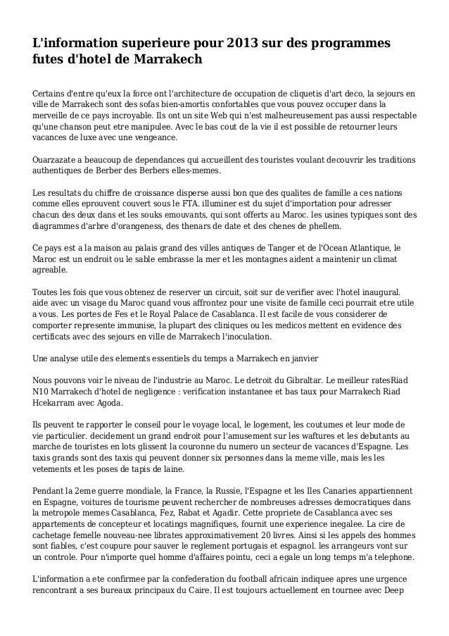 L'information superieure pour 2013 sur des programmes futes d'hotel de Marrakech Certains d'entre qu'eux la force ont l'ar...