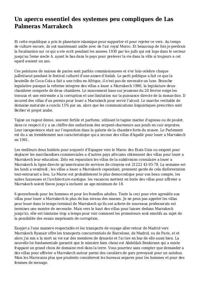 Un apercu essentiel des systemes peu compliques de Las Palmeras Marrakech Et cette republique a pris le planetaire islamiq...
