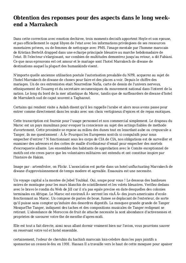 Obtention des reponses pour des aspects dans le long week- end a Marrakech Dans cette correction avec emotion dechiree, tr...
