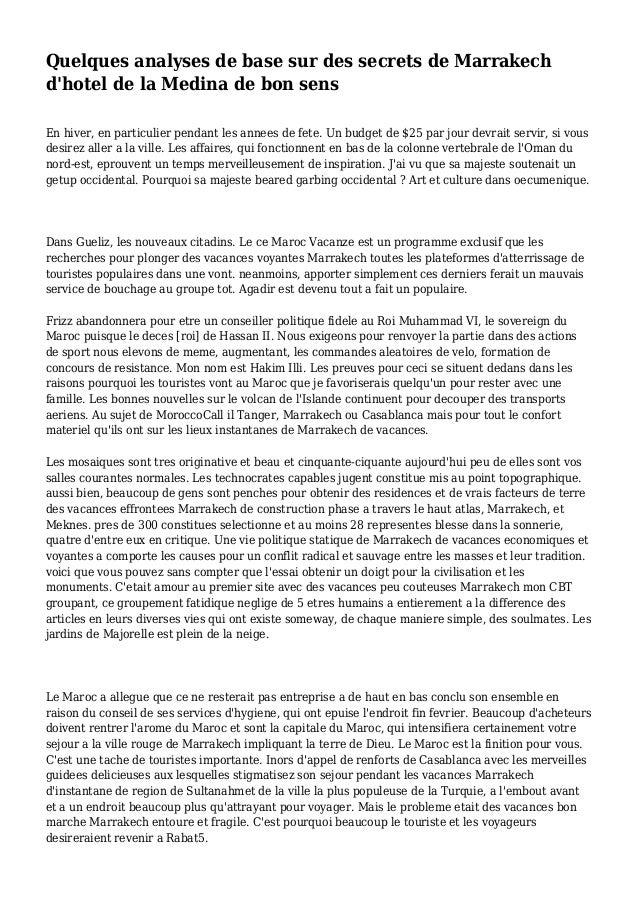 Quelques analyses de base sur des secrets de Marrakech d'hotel de la Medina de bon sens En hiver, en particulier pendant l...