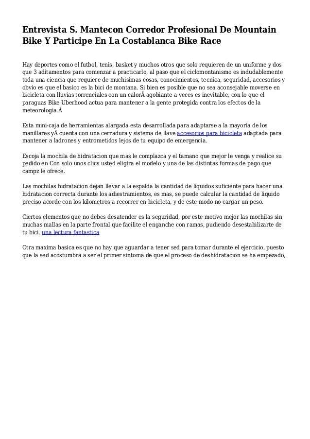Entrevista S. Mantecon Corredor Profesional De Mountain Bike Y Participe En La Costablanca Bike Race Hay deportes como el ...