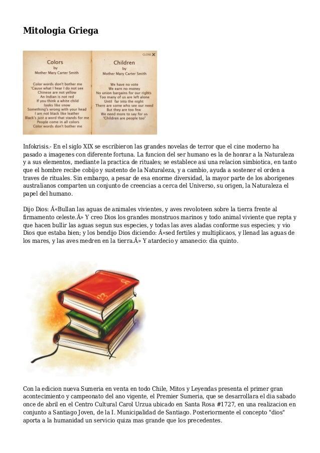 Mitologia Griega Infokrisis.- En el siglo XIX se escribieron las grandes novelas de terror que el cine moderno ha pasado a...