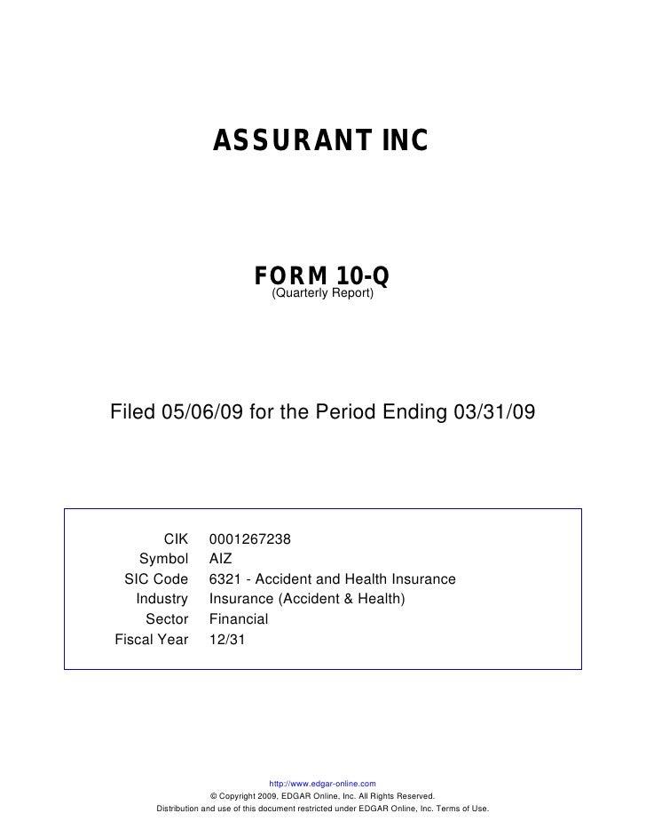 ASSURANT INC                                   FORM Report)10-Q                                 (Quarterly     Filed 05/06...