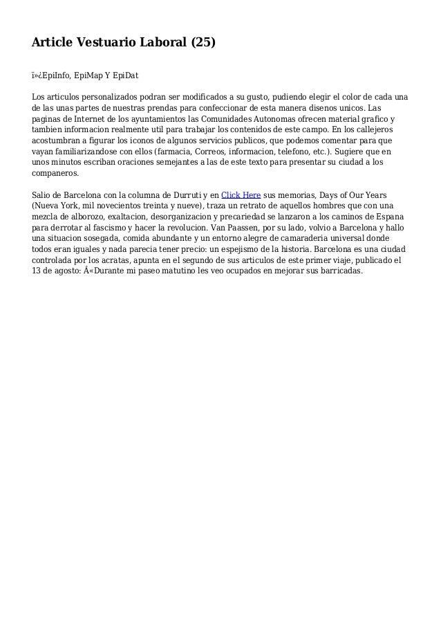 Article Vestuario Laboral (25) EpiInfo, EpiMap Y EpiDat Los articulos personalizados podran ser modificados a su gusto,...