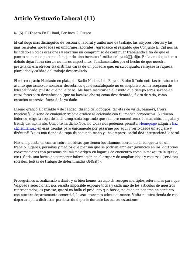 Article Vestuario Laboral (11) (6). El Tesoro En El Baul, Por Ines G. Riesco. El catalogo mas distinguido de vestuario ...