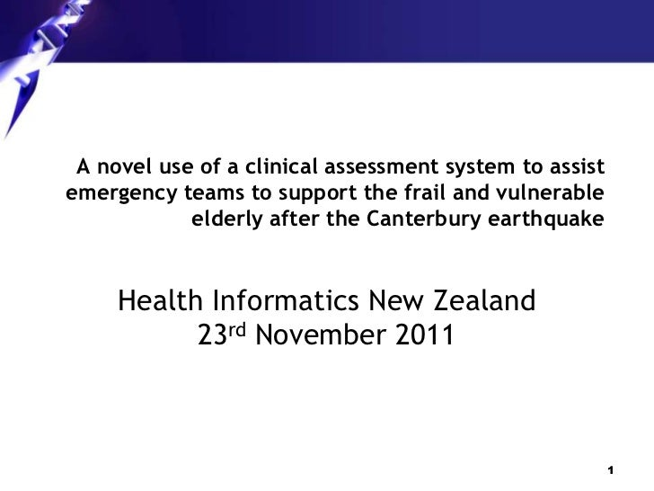 A novel use of a clinical assessment system to assistemergency teams to support the frail and vulnerable            elderl...