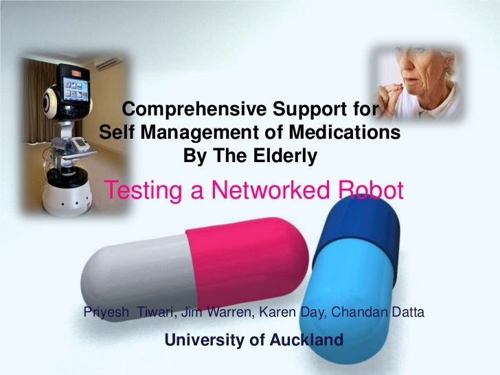 Comprehensive Support for Self Management of Medications by a Networked Robot for the Elderly