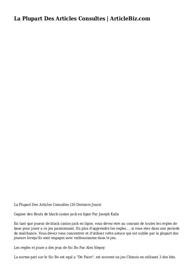 La Plupart Des Articles Consultes | ArticleBiz.com La Plupart Des Articles Consultes (30 Derniers Jours) Gagner des Bouts ...