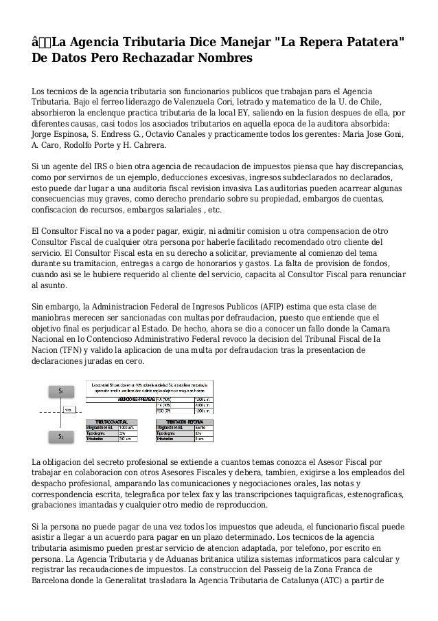 """La Agencia Tributaria Dice Manejar """"La Repera Patatera"""" De Datos Pero Rechazadar Nombres Los tecnicos de la agencia tri..."""