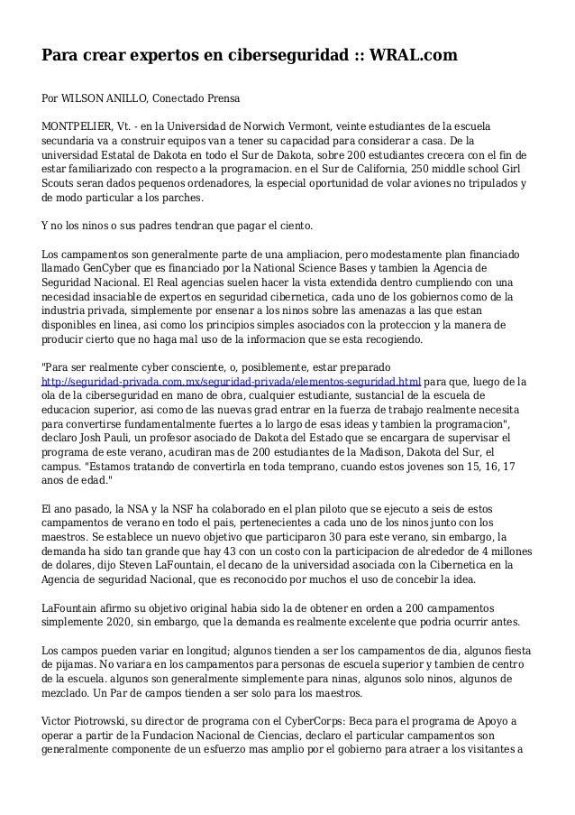 Para crear expertos en ciberseguridad :: WRAL.com Por WILSON ANILLO, Conectado Prensa MONTPELIER, Vt. - en la Universidad ...