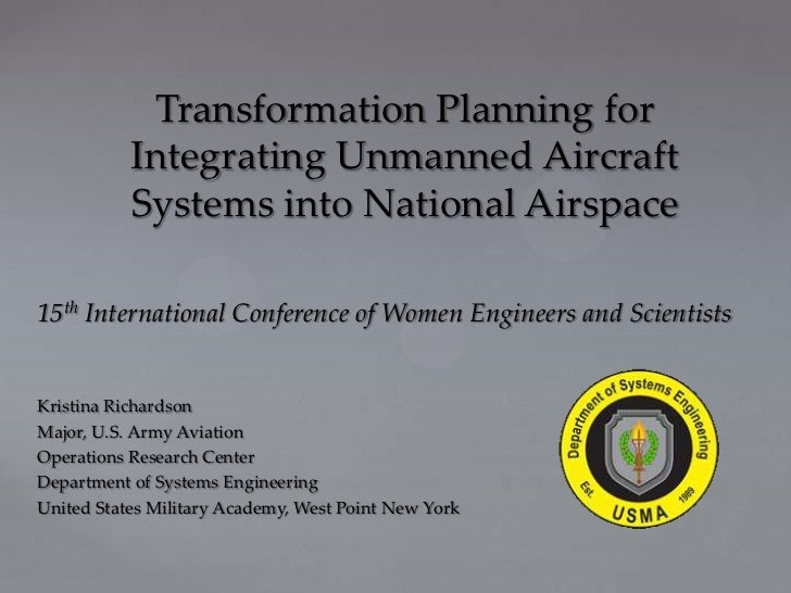 ICWES15 - Transformation Planning for Integrating Unmanned aircraft into National Airspace. Presented by Kristina L Richardson, Department of Systems Engineering, NY, USA