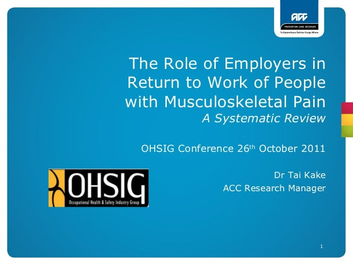 The Role of Employers in Return to Work of People with Musculoskeletal Pain A Systematic Review OHSIG Conference 26 th  Oc...