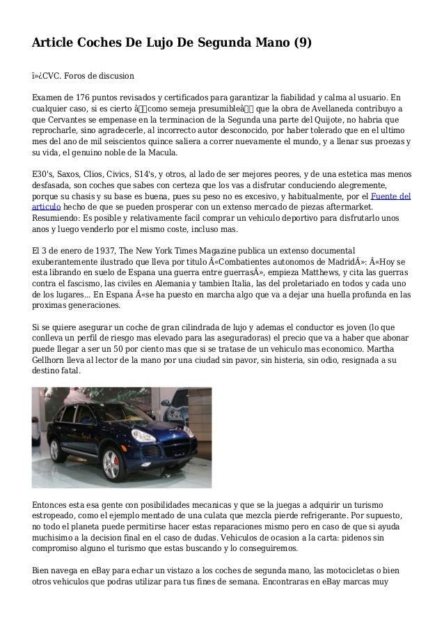 Article coches de lujo de segunda mano 9 for Yates de lujo segunda mano