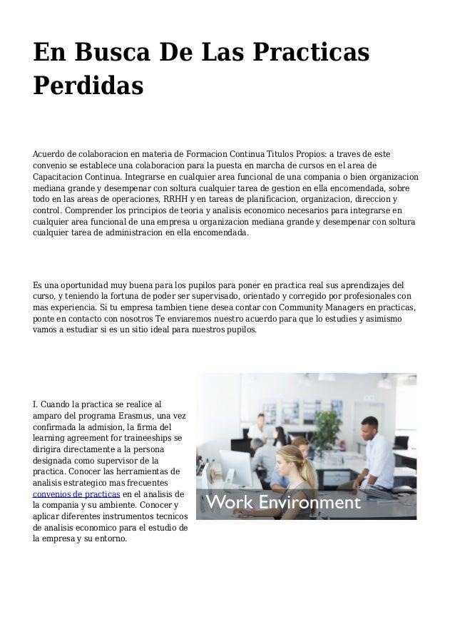 En Busca De Las Practicas Perdidas Acuerdo de colaboracion en materia de Formacion Continua Titulos Propios: a traves de e...