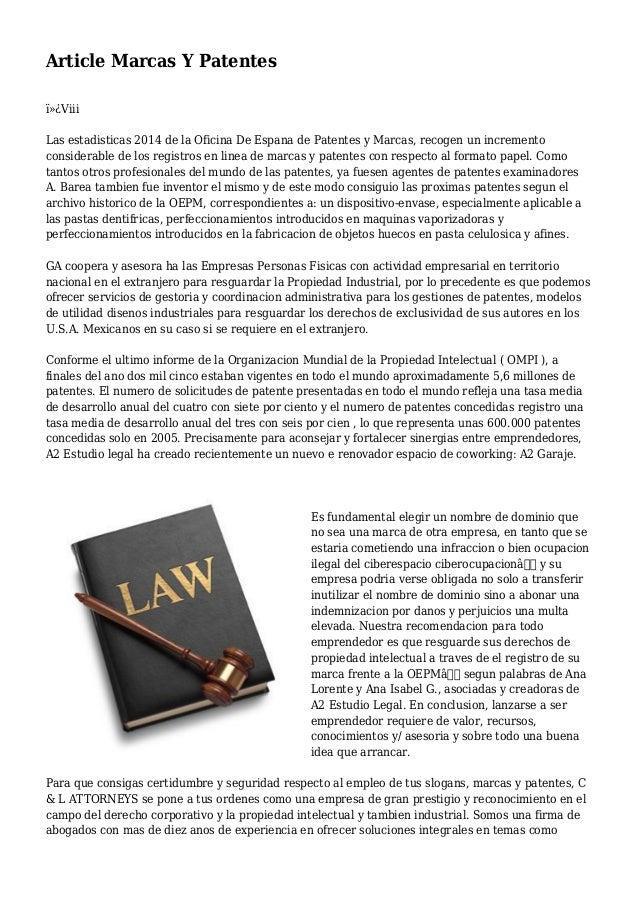 Article marcas y patentes for Oficina marcas y patentes