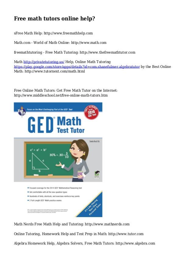 Free online math homework help