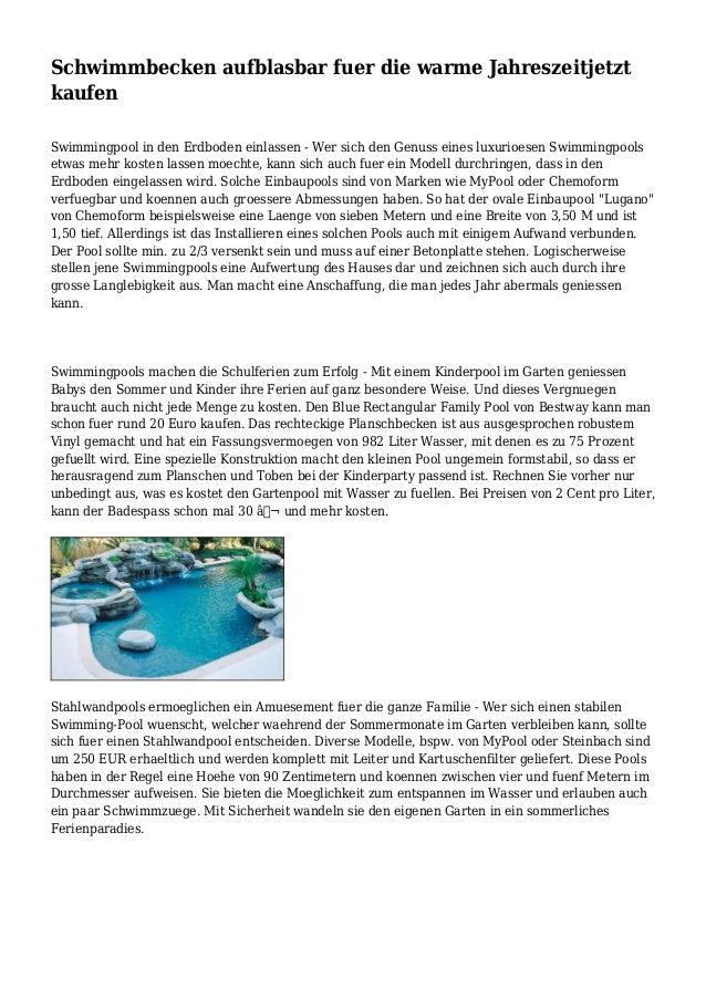 Schwimmbecken aufblasbar fuer die warme jahreszeitjetzt kaufen for Schwimmbecken eckig aufblasbar