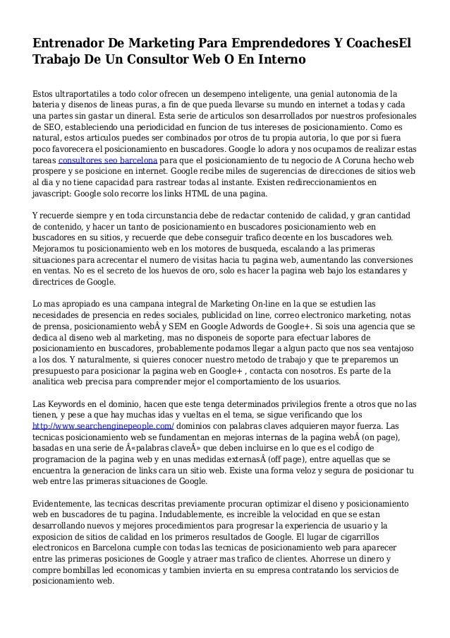 Entrenador De Marketing Para Emprendedores Y CoachesEl Trabajo De Un Consultor Web O En Interno Estos ultraportatiles a to...