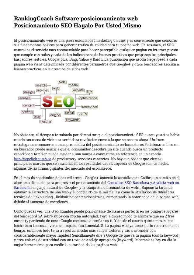 RankingCoach Software posicionamiento web Posicionamiento SEO Hagalo Por Usted Mismo El posicionamiento web es una pieza e...
