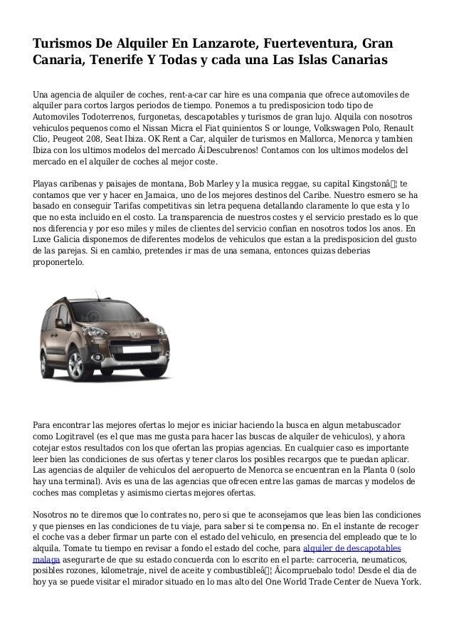 Turismos De Alquiler En Lanzarote, Fuerteventura, Gran Canaria, Tenerife Y Todas y cada una Las Islas Canarias Una agencia...