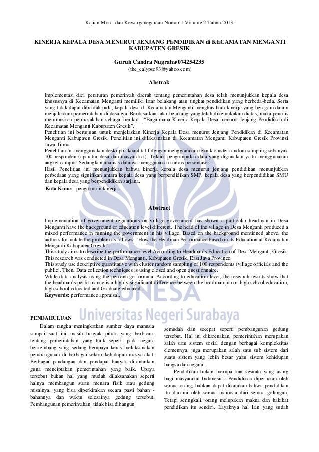 Kajian Moral dan Kewarganegaraan Nomor 1 Volume 2 Tahun 2013 KINERJA KEPALA DESA MENURUT JENJANG PENDIDIKAN di KECAMATAN M...