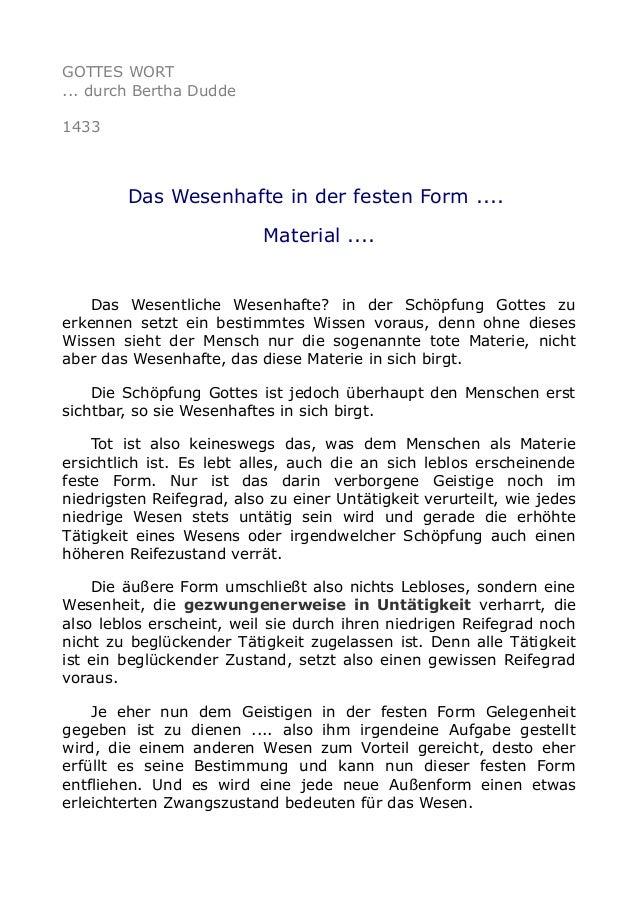 GOTTES WORT ... durch Bertha Dudde 1433 Das Wesenhafte in der festen Form .... Material .... Das Wesentliche Wesenhafte? i...