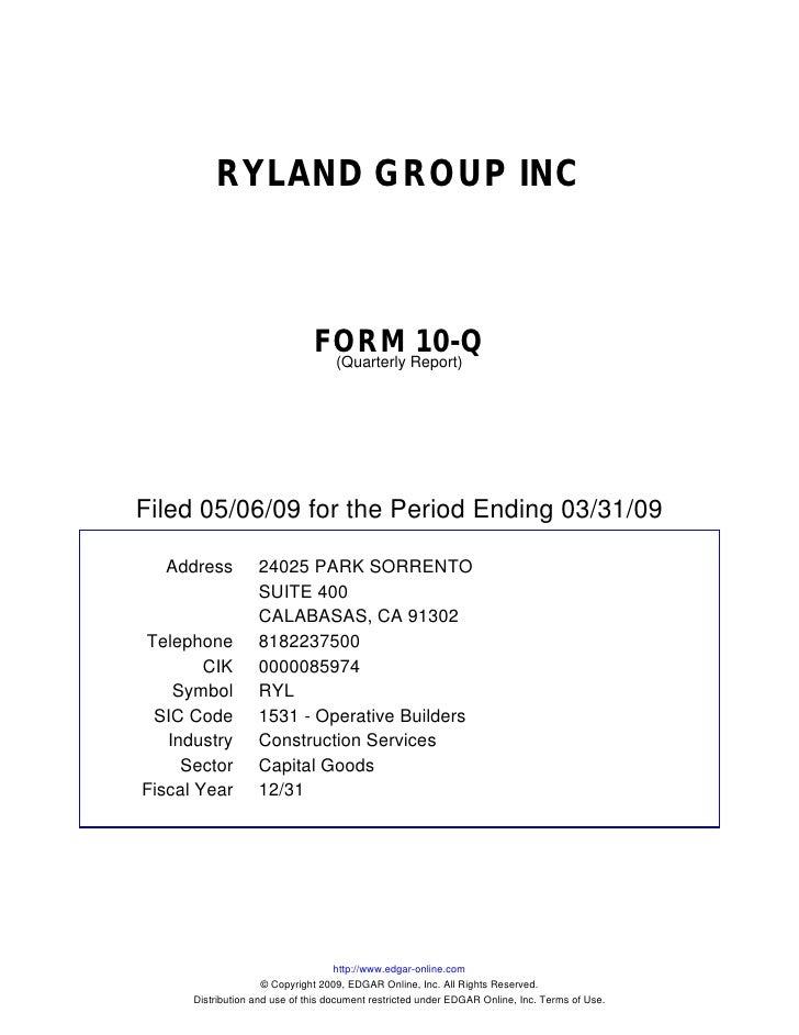 Q1 2009 Earning Report of Ryland Group Inc.