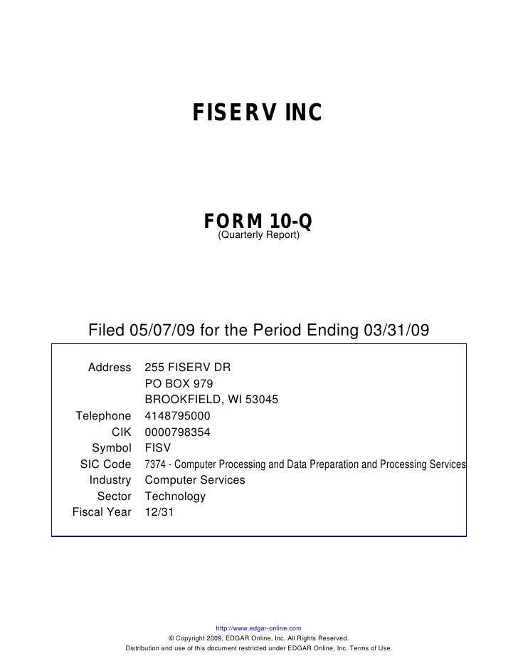 Q1 2009 Earning Report of Fiserv Inc.
