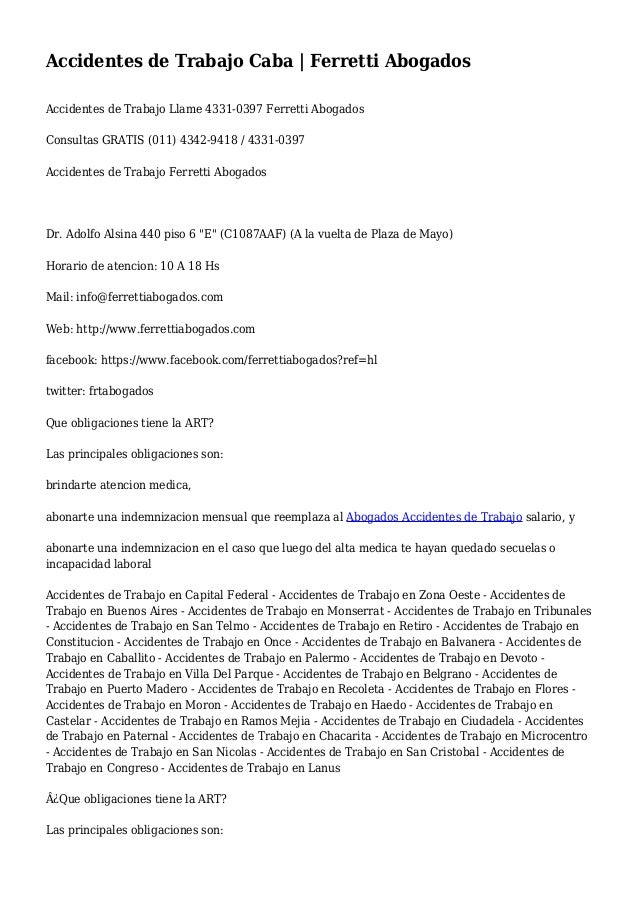 Accidentes de Trabajo Caba | Ferretti Abogados Accidentes de Trabajo Llame 4331-0397 Ferretti Abogados Consultas GRATIS (0...