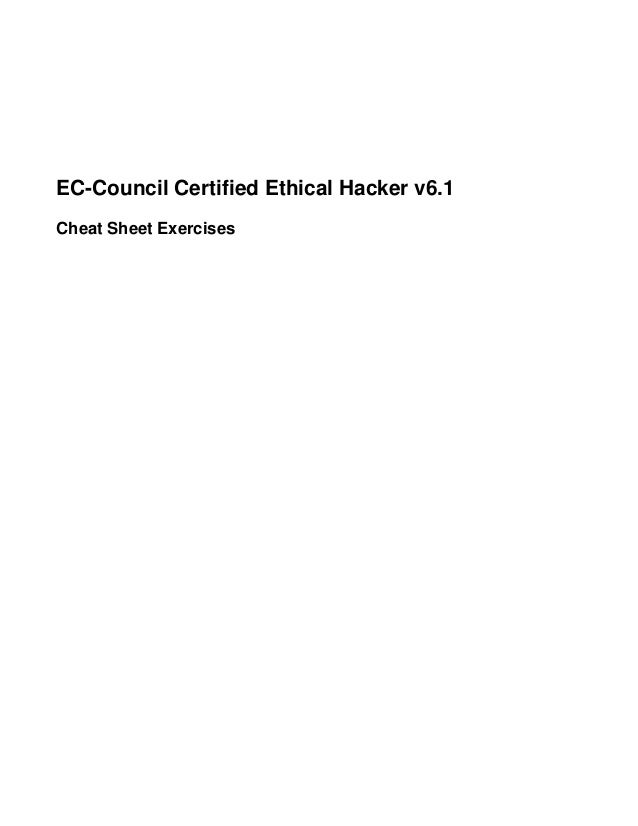 EC-Council Certified Ethical Hacker v6.1 Cheat Sheet Exercises