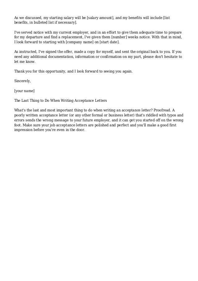 Job Offer Acceptance Letter Email - Accept Offer Letter Harvard