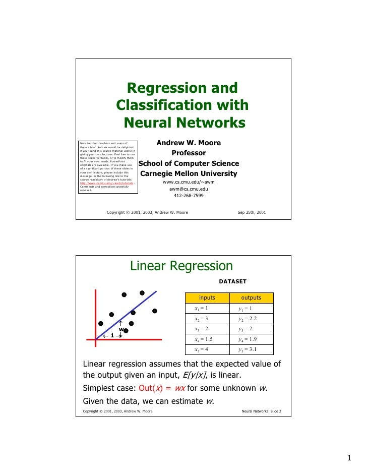 Regression and                             Classification with                              Neural Networks               ...