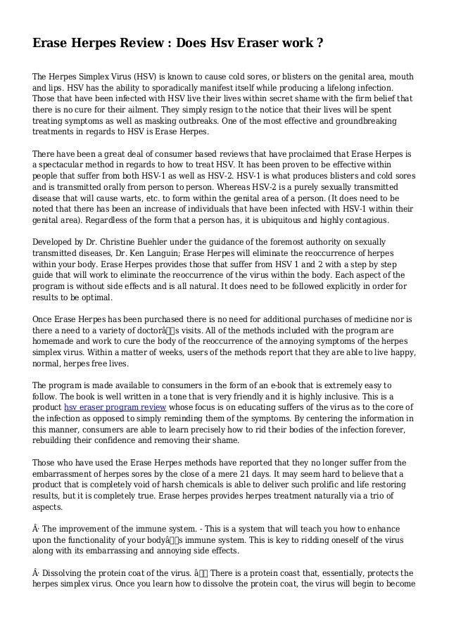 Is HSV Eraser Program By Christine Buehler a Scam? Review - Herpes ...