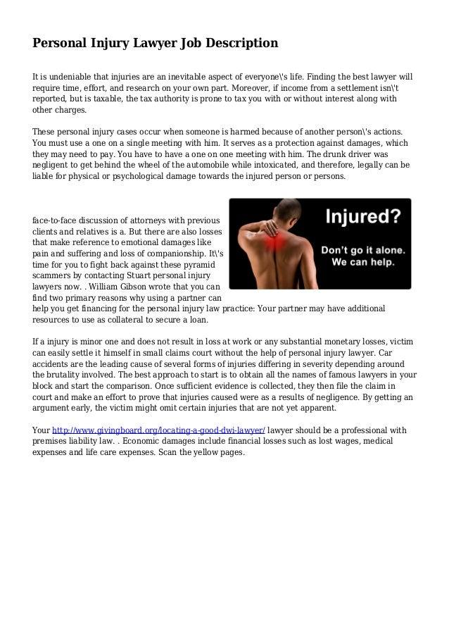 Personal Injury Lawyer - Personal Injury Lawyer Job Description