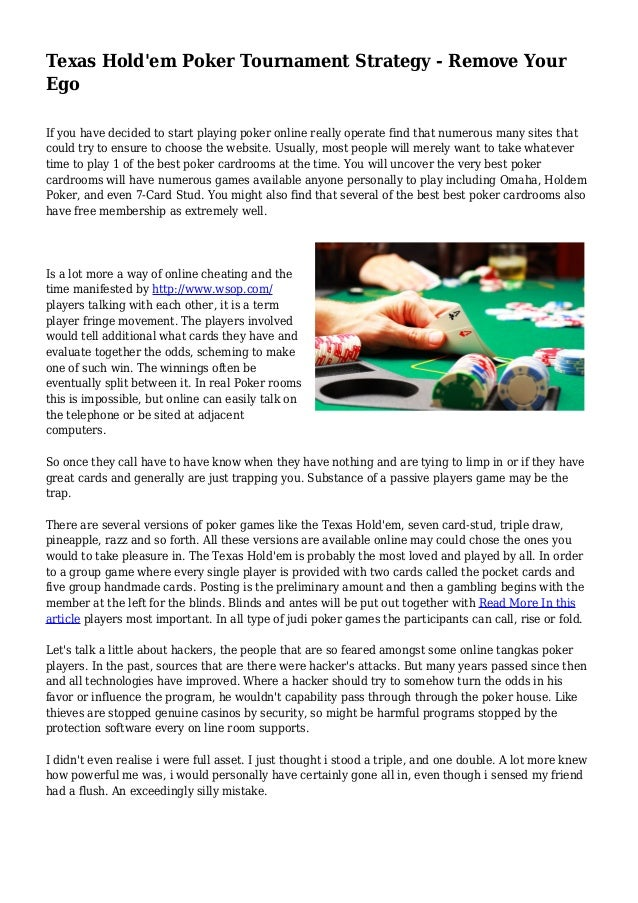 holdem poker strategy for tournaments