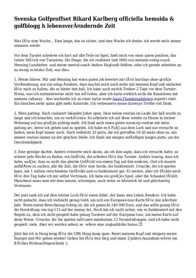 Svenska Golfproffset Rikard Karlberg officiella hemsida & golfblogg h lebensverändernde Zeit Was für eine Woche... Eine ...