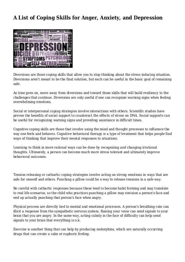 Coping Skills For Depression Worksheet Depression Worksheets
