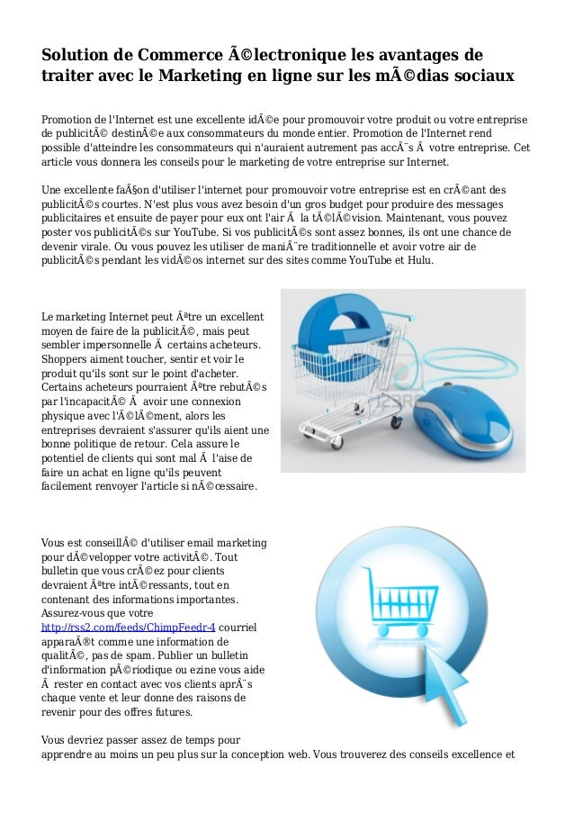 Solution de Commerce électronique les avantages de traiter avec le Marketing en ligne sur les médias sociaux Promotion d...
