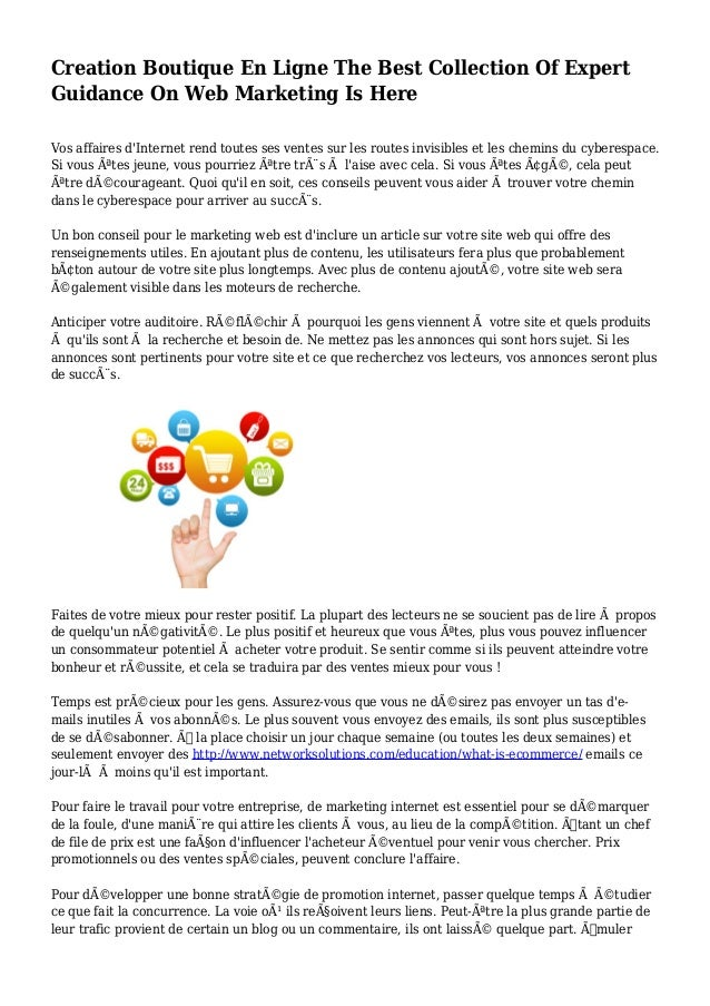 Creation Boutique En Ligne The Best Collection Of Expert Guidance On Web Marketing Is Here Vos affaires d'Internet rend to...