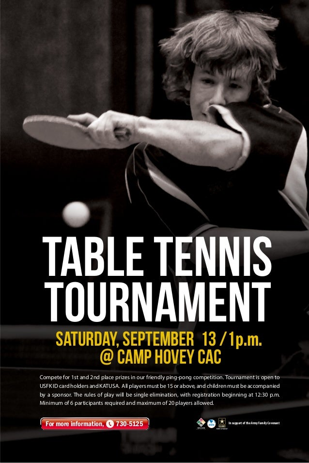 Compete for 1st and 2nd place prizes in our friendly ping-pong competition. Tournament is open to USFK ID card holders and...