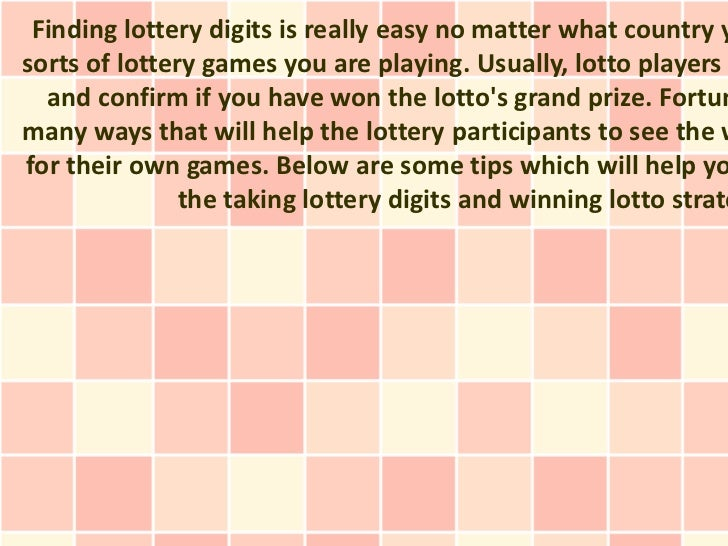 The best Way to find Winning Lotto Digits