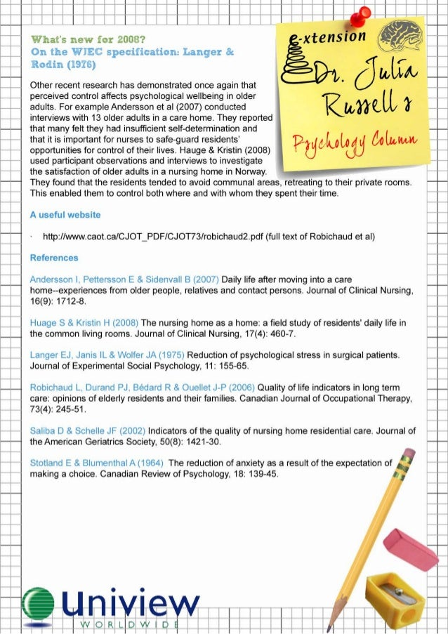 langer and rodin study There are 5 types of questions on py2 this booklet will take you through the different types and using langer and rodin's study show you how to answer the questions.