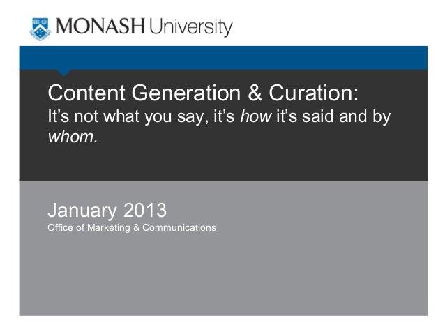 Digital & Social Media Strategies Series: Content Generation & Curation