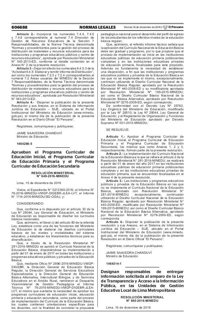 Rm 649 2016 minedu aprueba programa curricular de for Programa curricular de educacion inicial