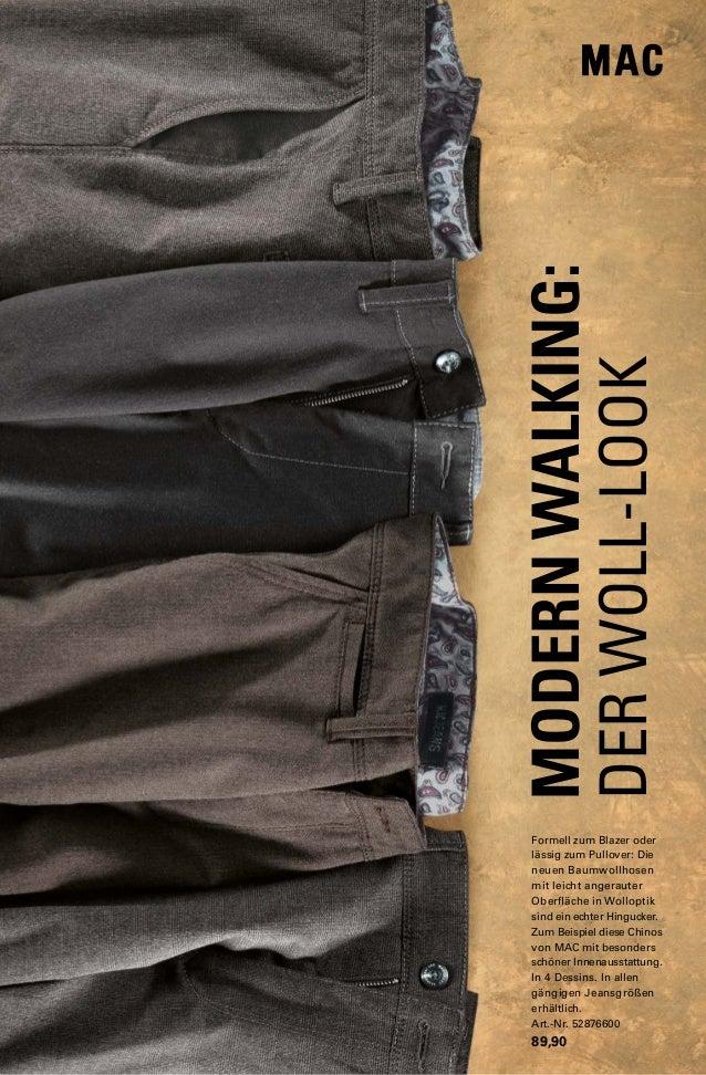 MODERN WALKING:  DER WOLL-LOOK  Formell zum Blazer oder  lässig zum Pullover: Die  neuen Baumwollhosen  mit leicht angerau...