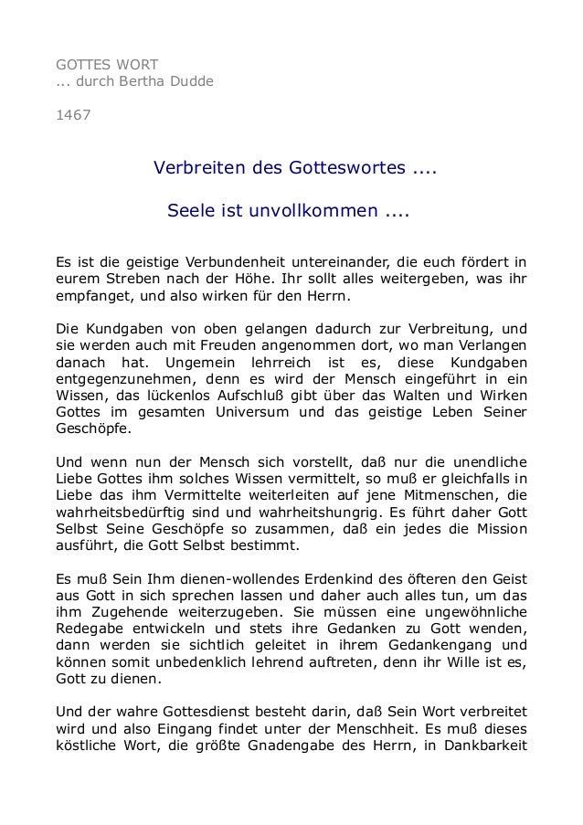 GOTTES WORT ... durch Bertha Dudde 1467 Verbreiten des Gotteswortes .... Seele ist unvollkommen .... Es ist die geistige V...