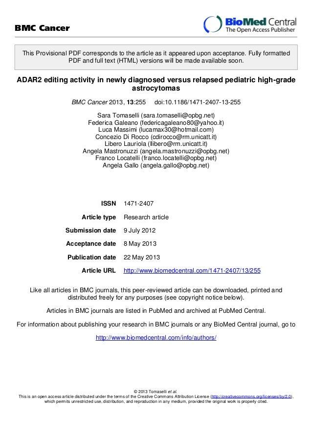 ADAR2 editing activity in newly diagnosed versus relapsed pediatric high-grade astrocytomas