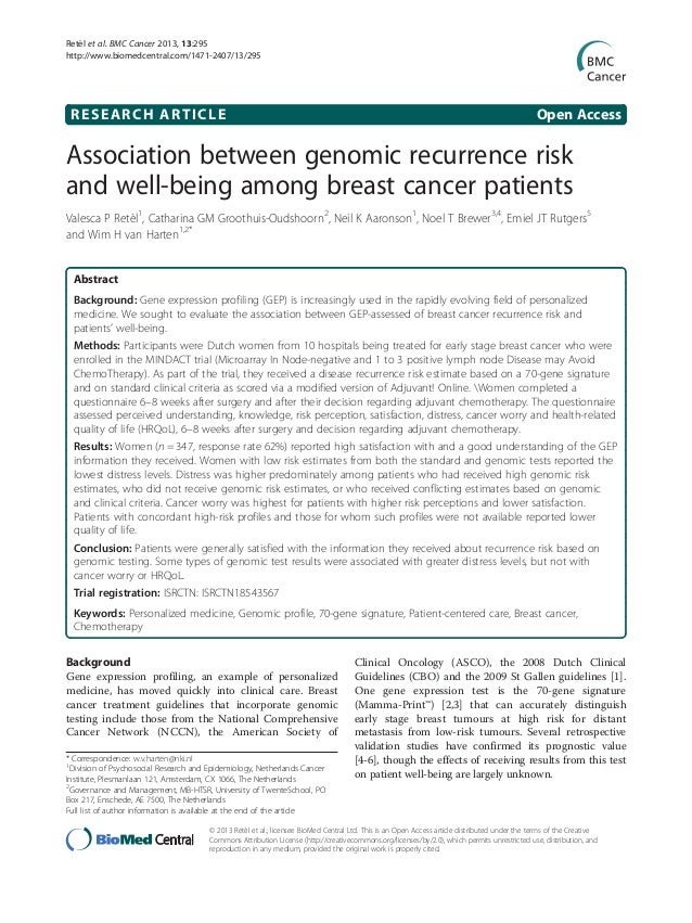 RESEARCH ARTICLE Open AccessAssociation between genomic recurrence riskand well-being among breast cancer patientsValesca ...