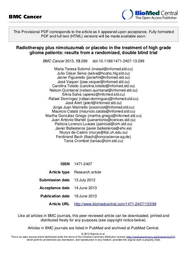 Radiotherapy plus nimotuzumab or placebo in the treatment of high grade glioma patients: results from a randomized, double blind trial